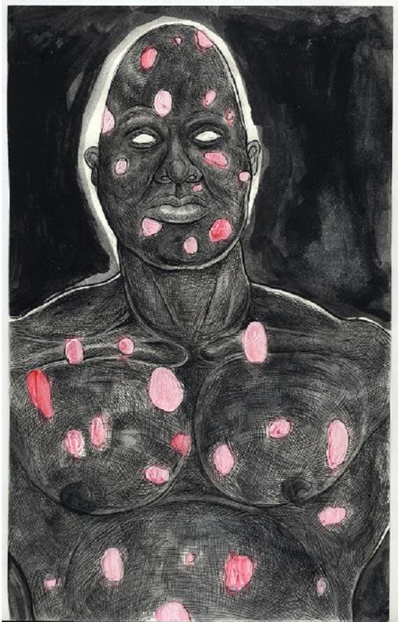 Trenton Doyle Hancock | Fear Drawing, 2008 | Mixed media on paper | 9 x 12 inches Courtesy the artist and James Cohan Gallery, New York