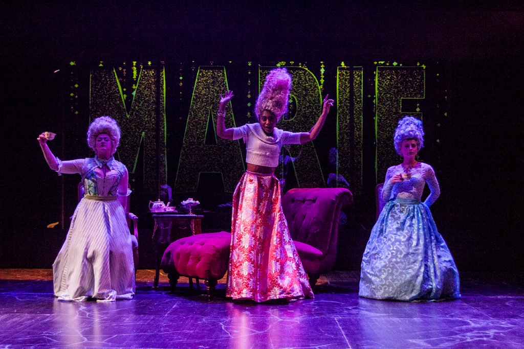 Lara Mielcarek, from left, as Polignac, Carly Germany as Marie Antoinette, and Rachel Kolis as Lamballe. PHOTO | Steve Wagner Photography