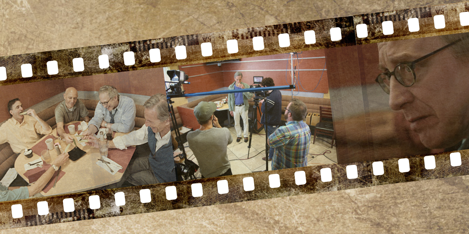 "Photos in lead image from left to right: Brian Zoldessy, Scott Miller, Joel Hammer, George Roth and Jeffrey Grover in a scene from ""On a Technicality""; Jeffrey Grover as ""Howard"" preparing for a take for ""On a Technicality""; and George Roth as ""Bruce"" in ""On a Technicality."" Photos courtesy of g2h films; illustration by Jon Larson."