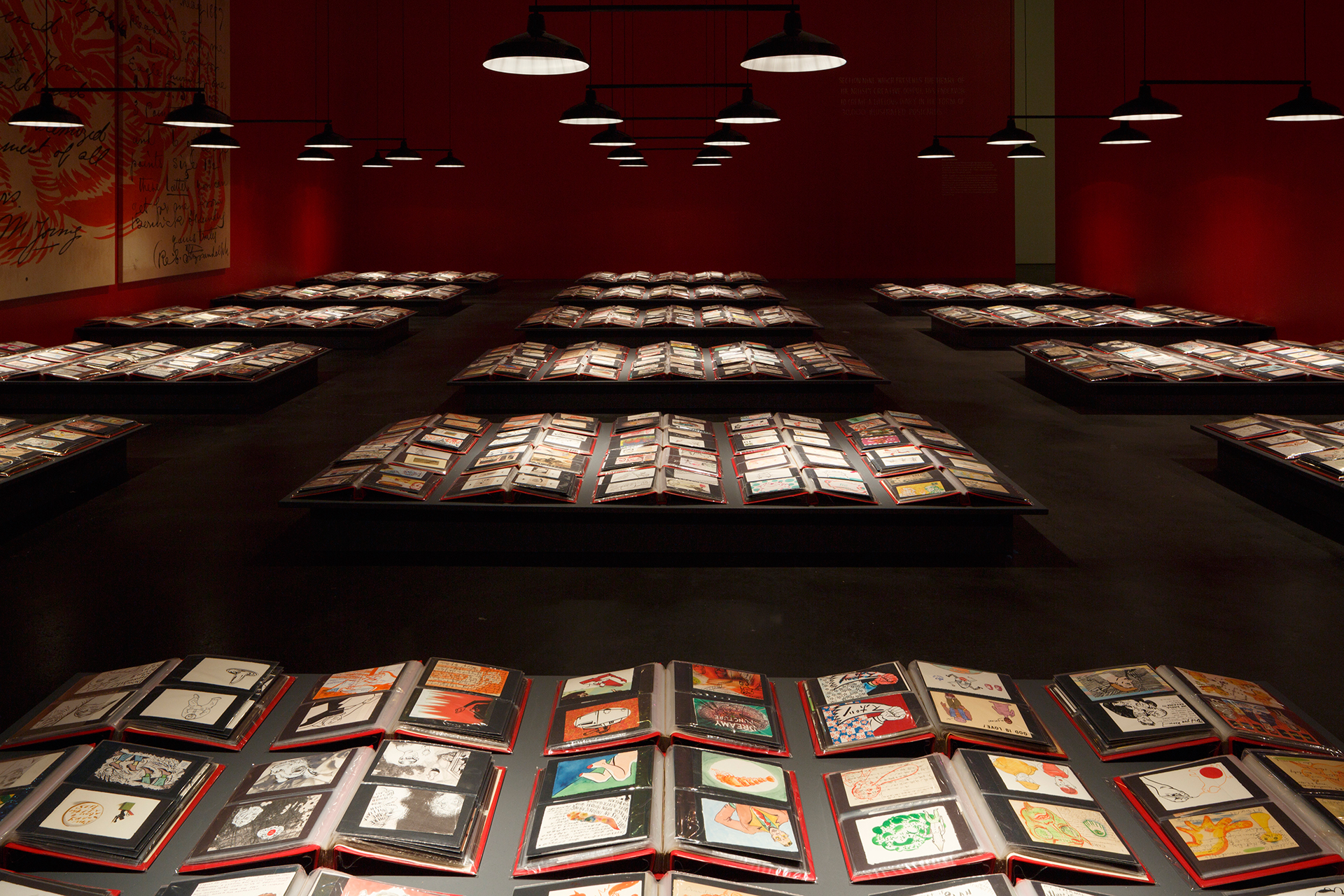 """Mark Mothersbaugh: Myopia,"" 30,000 postcards, installation view. Photo: Trevor Brown. Courtesy of the Museum of Contemporary Art Denver."