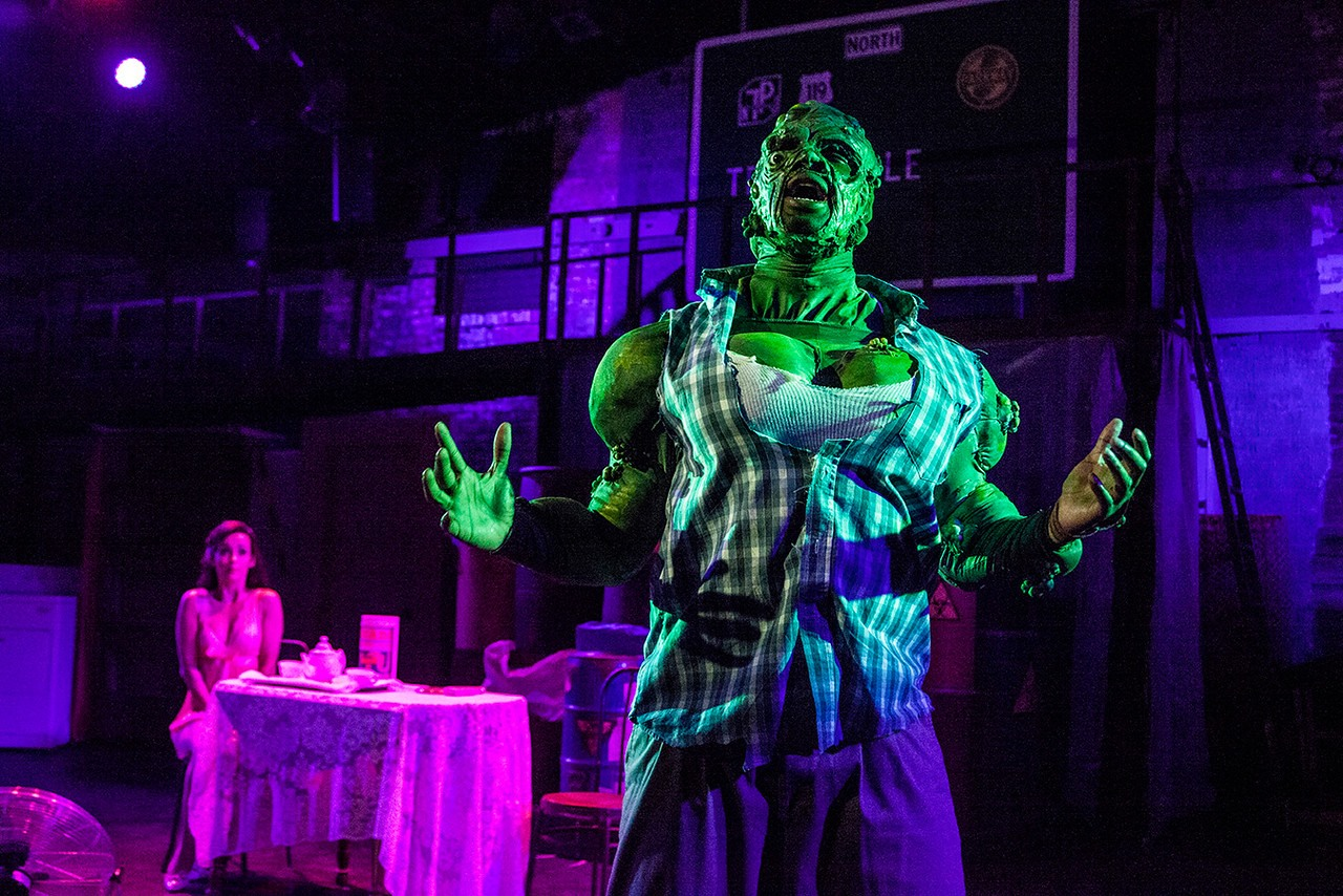 Natalie Green as Sarah and Ellis C. Dawson III as the Toxic Avenger. PHOTO | Steve Wagner