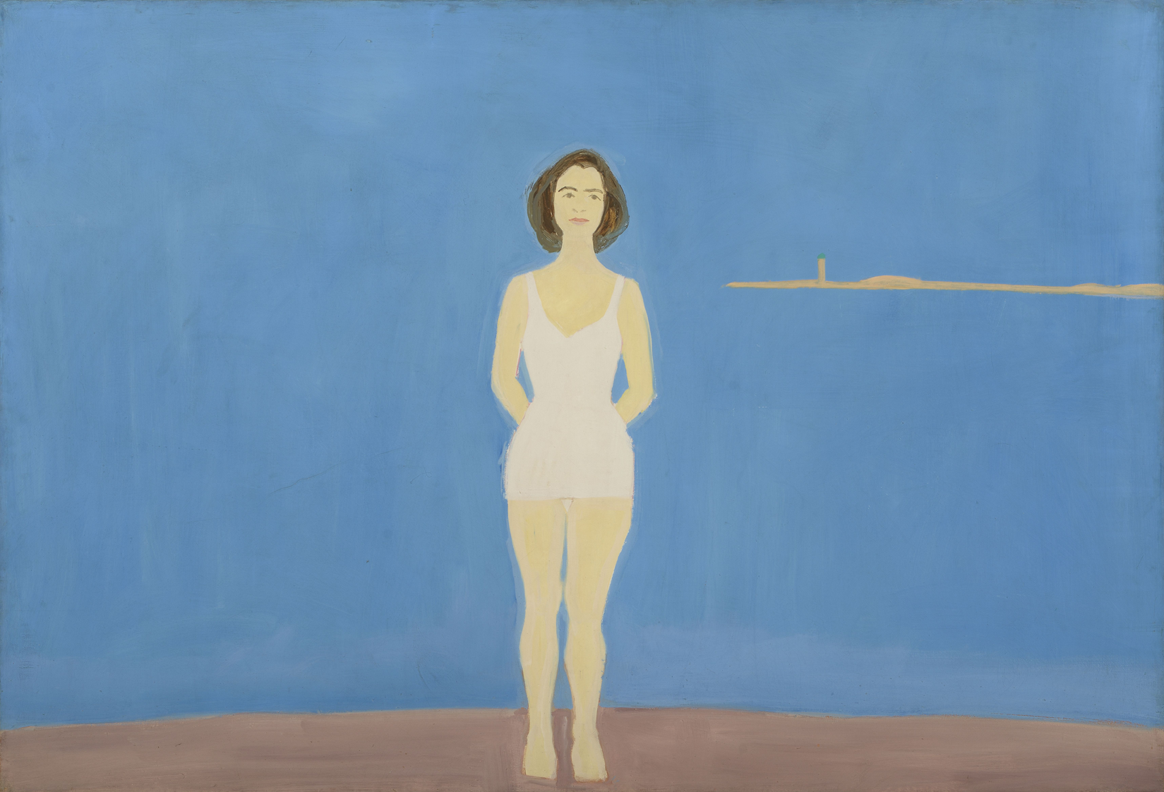 """Bather,"" 1959. Alex Katz (American, b. 1927). Oil on linen; 121.9 x 182.9 cm. Colby College Museum of Art, Museum purchase made possible by Peter and Paula Lunder through the Lunder Foundation, Michael Gordon '66, Barbara and Theodore Alfond through the Acorn Foundation, and the Jere Abbott Acquisitions Fund, 2016.189. Art © Alex Katz / Licensed by VAGA, New York, NY."