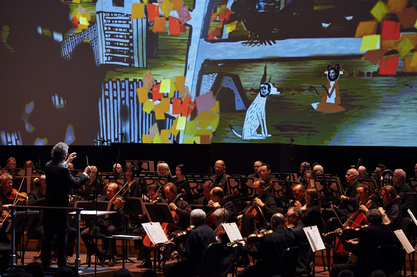 """Cleveland Orchestra Music Director, Franz Welser-Möst, leads the Orchestra in the 2014 production of Janáček's opera, """"The Cunning Little Vixen"""" at Severance Hall. Photo / Roger Mastroianni"""
