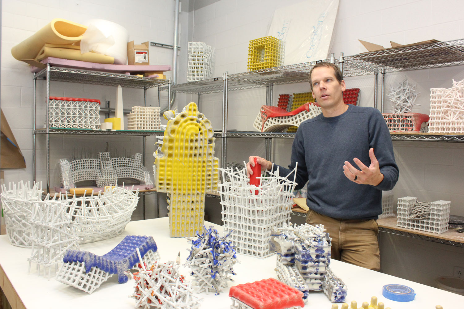 Johnson discusses his work inside his studio at Kent State, where he's an assistant professor and head of the ceramics department.