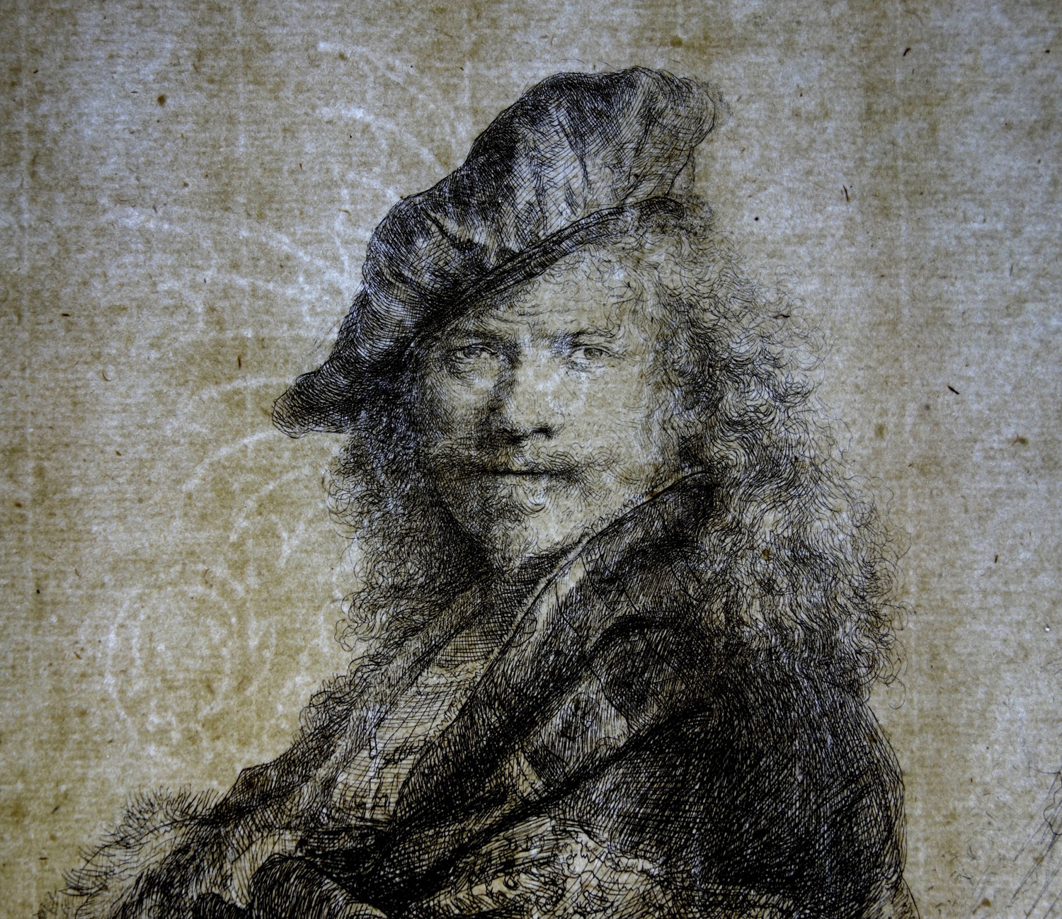 """Self-Portrait Leaning on a Stone Sill"" by Rembrandt Harmenszoon van Rijn, 1639; etching, with touches of drypoint, retouched in black chalk. Collection of Yale University Art Gallery. Transmitted light photograph courtesy of Theresa Fairbanks-Harris. Image courtesy of the Allen Memorial Art Museum."