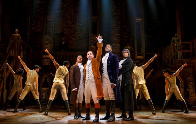 "Elijah Malcomb as John Laurens (from left), Joseph Morales as Alexander Hamilton, Kyle Scatliffe as Marquis De Lafayette, Fergie L. Philippe as Hercules Mulligan, and the ""Hamilton"" company. Photo / Joan Marcus"