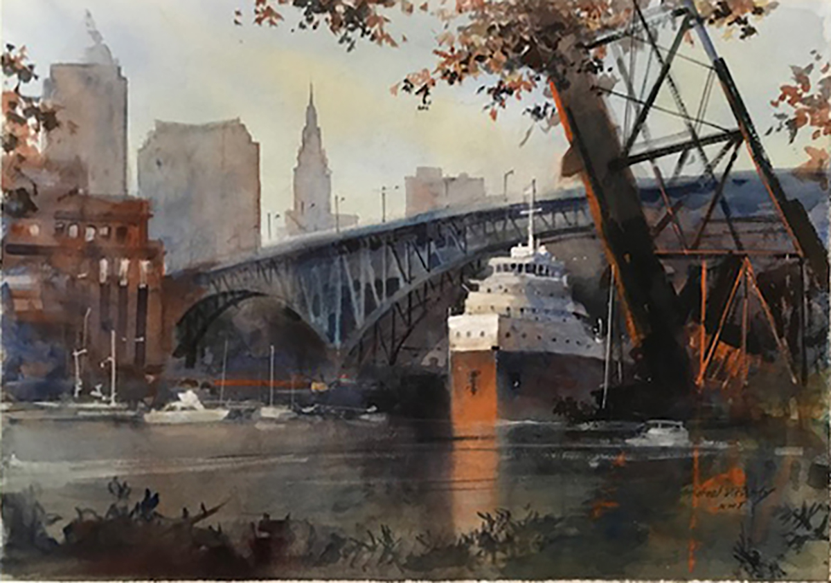 """Freighter Bridge, Cleveland Skyline"" by Michael Prunty; watercolor on paper, 18 x 27 inches."